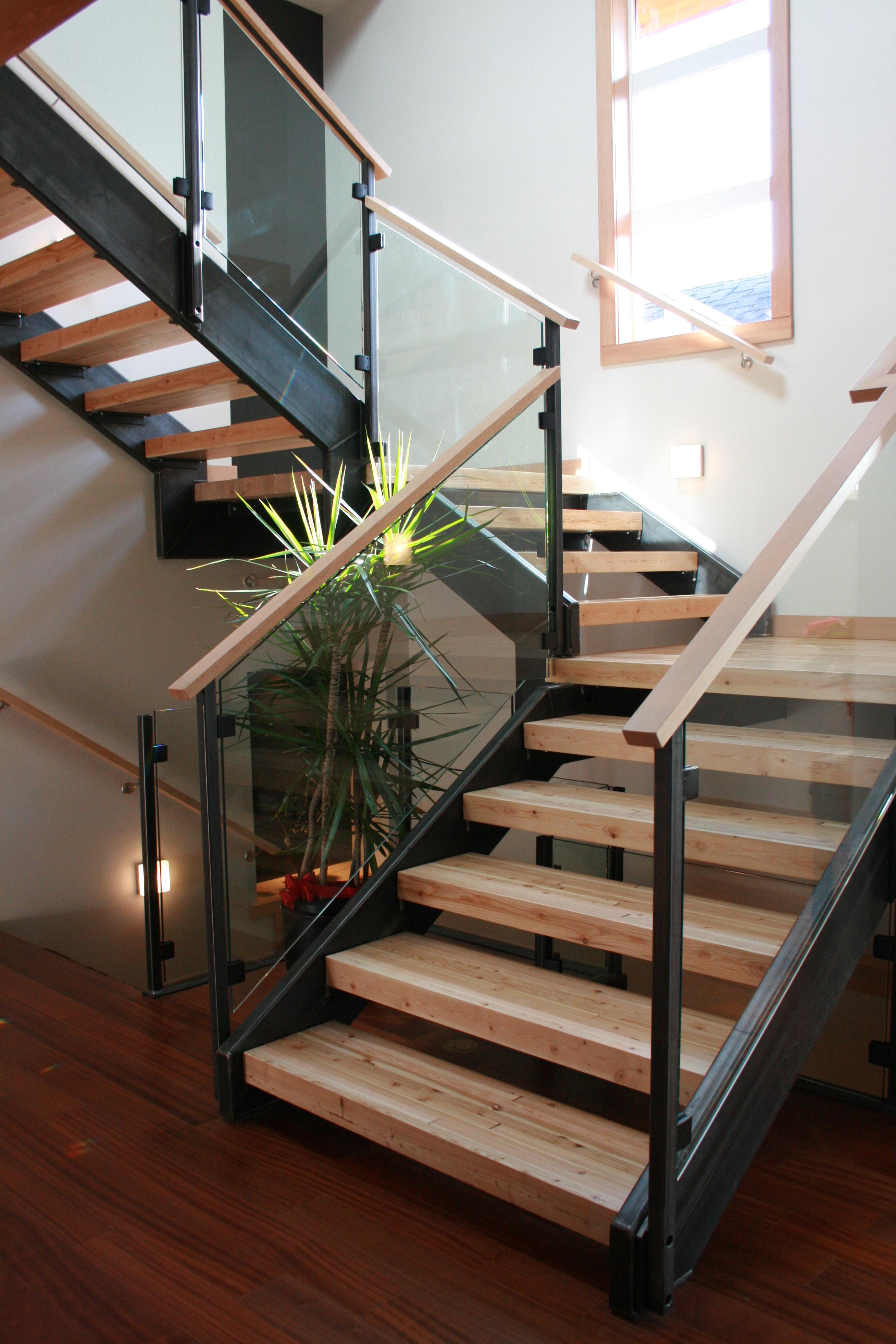 Beautiful Steel Stair Stringers U0026 Handrail Uprights White Rock